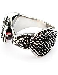 Miss–E–JEWELS plateado acero inoxidable King Cobra Serpiente Anillo Para Hombres Biker Punk fangbanger mexicano veneno tamaño: Z + 1, 13, 30, 70