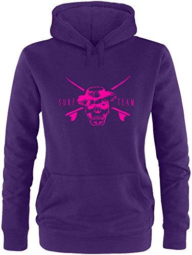 EZYshirt® Pirate Surfteam Damen Hoodie Lila/Neonpink