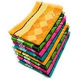 Cotton Colors Floral Design Cotton Hand Towels (Medium, Multicolour) - Pack of 8