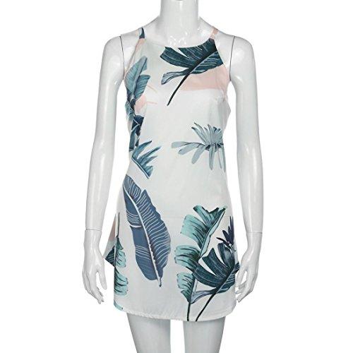 BZLine® Frauen Sommer Casual Halter Druck Strand Sleeveless Strand Kleid Weiß