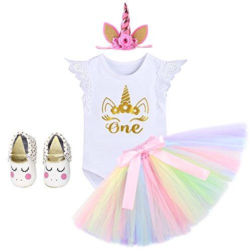 Baby Born Einhorn Kostüm - IWEMEK Baby Mädchen Einhorn Geburtstag Kostüm