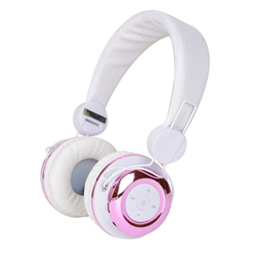 Penzo BT804 Bluetooth 4.0 Wireless-Over-Ear Noise Cancelling-Kopfhörer Stereo-Headset mit Mikrofon (White-Pink)