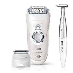 Braun Silk-Epil 7 7-561 Epilators for Women, Wet and Dry Epilator, Cordless Epilator and 8 Extras Including Bikini Trimmer (2-Pin UK Bathroom Plug), White