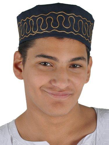 Traditionelle Arabische Kopfbedeckung - Araber - Karnevalskostüm/ Farbe: nachtblau-gold