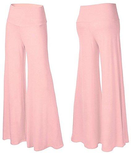 Happy Lily Damen Yoga-Hose / Palazzo-Hose, hohe Taille, verführerisches Design, weite und lange Beine  Gr. Medium, rose (Emt Pant Black)
