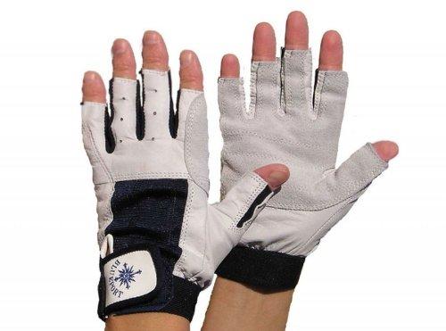 Blueport Segelhandschuhe aus Leder - 5 Finger frei, Größe:S