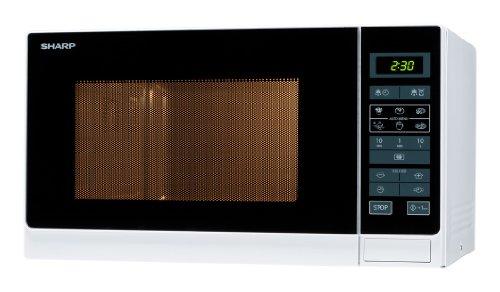Sharp R342WW Solo-Mikrowelle / 25 L / 900 W / LED-Display / 8 Automatikprogramme / Timer / Gewichtgesteuertes Auftauen / Kindersicherung / Energiesparmodus / Glasdrehteller (31,5 cm) / weiß -