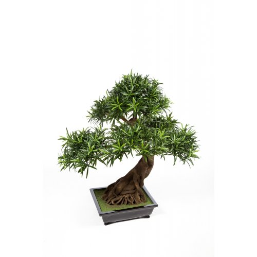 artplants – Deko Bonsai Podocarpus MASAO in Schale, DELUXE, 3830 Blätter, 85cm – Künstlicher Bonsai / Kleiner Zimmerbaum