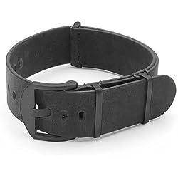 DASSARI Veteran Italian Leather G10 NATO Zulu Watch Strap in Vintage Black w/ Black Hardware 24mm