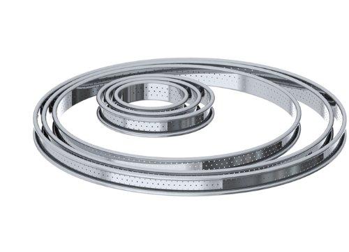 De Buyer 3093.28 Cercle à Tarte Perforé Rond inox - Bord Roulé - ht. 2 cm -  28 cm