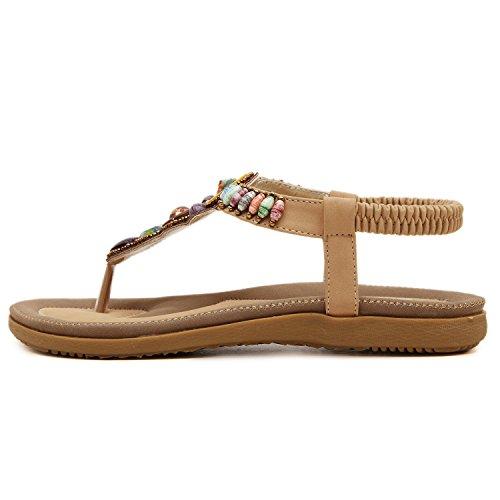 dqq femmes de Bohème perles T Sangle String Sandal abricot