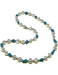 El Coral Collar Perlas Blancas, Chips Turquesa y Bolitas Plateadas