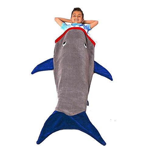 niceEshop(TM) Sac de Couchage en Polaire Double Couches sous Forme de Requin pour Enfants (Gris)