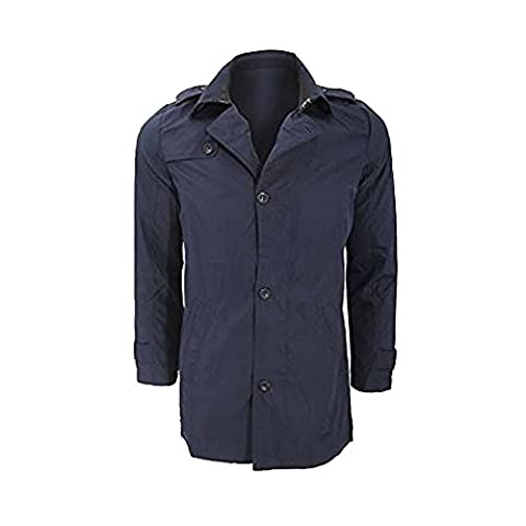 BRAVE SOUL MENS NAVY BRUCE POLY TRICOT BONDED RAIN COAT MAC JACKET RRP £59.99 (SMALL)