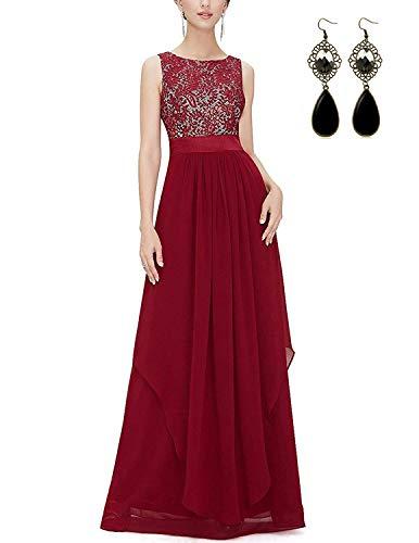 Modetrend donna elegante vestiti da matrimonio pizzo abito in chiffon lunghi vestito formale banchetto sera