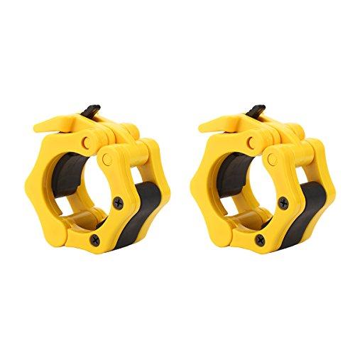 Paar 5,1cm Einhand-Installation Olympischen Barbell für professionelle gymmers der mit Quick Release für gedrungene Schnappverschluss für Gewichtheben/Powerlifting Training Set von 2Klammern, gelb