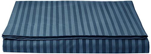 AmazonBasics - Deluxe-Bettlaken, Mikrofaser, gestreift, 240 x 320 + 10 cm - Marineblau