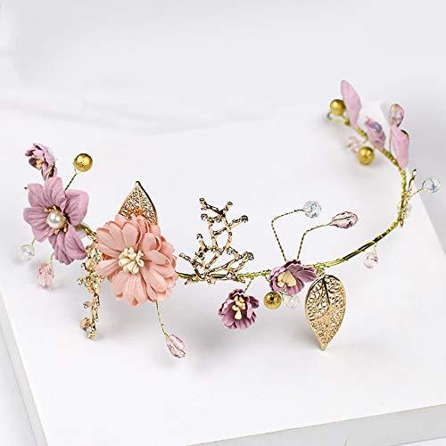 Fang-denghui, Elegante Blume Tiaras Und Kronen Stirnband Für Frauen Und Mädchen Hochzeit Schmuck Gold Lila Serie Braut Krone Dekoration Mädchen Frauen Haarschmuck