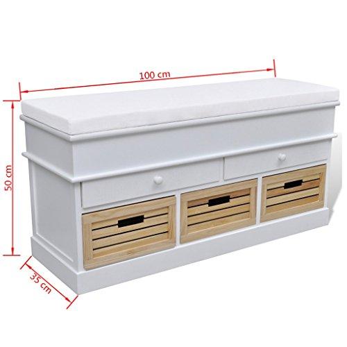 vidaXL Sitztruhe 2 Schubladen + 3 Kisten - 6
