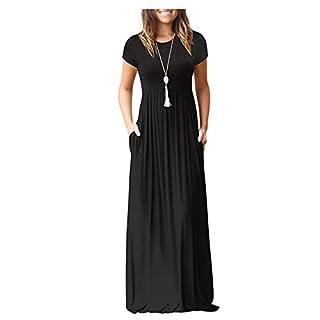 ZNYSTAR Sommer Kleider Damen Casual lange Kleider mit Taschen T-Shirt Kleid Elegant Solid Color Plissee Lose Strand langes Kleid (Medium, schwarz)