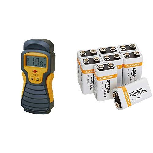 Brennenstuhl Feuchtigkeits-Detector MD (Feuchtigkeitsmessgerät/Feuchtigkeitsmesser für Holz oder Baustoffen,mit LCD-Display)anthrazit/gelb & AmazonBasics Everyday Alkalibatterien 600 mAh, 9V,8 Stück