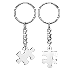 Idea Regalo - Jovivi - Set di 2 portachiavi a forma di puzzle - in acciaio inossidabile - regalo di San Valentino, per amici e persone amate - personalizzabile , Keychain(non-engraving)