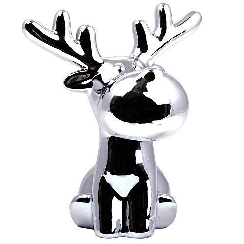Blauth Import Elch Tierfigur Porzellan Porzellanfigur Dekofigur sitzend Silber weiß (Silber, 18) -