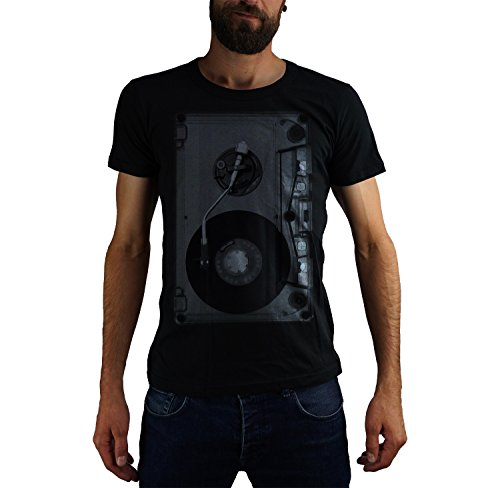 Ma2ca Turntable Cassette 80er Retro Black Kult T-Shirt Herren T-Shirt STE Ben-Black-l