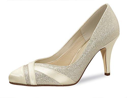 Sposa scarpe, un'altezza tempo scarpe, Mila 39,5 rainow Club Satin Fine Glitter/soft Bliss 8,0 cm colore avorio