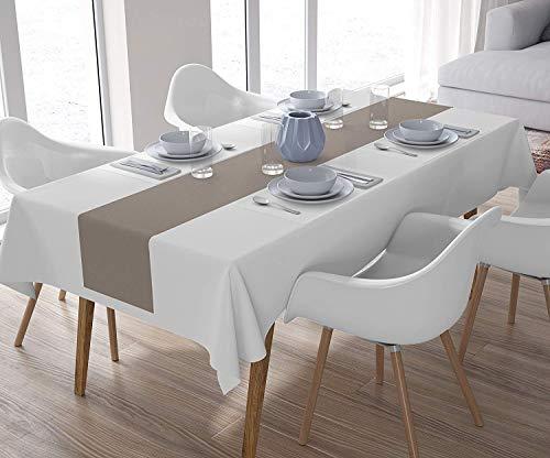 Encasa Chemin de Table pour Table à Manger 4 Places Teinture Unie Lavable Homes, 40 x 150cm
