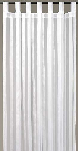 Dekoschal Gardine Vorhang Streifen halbtransparent Auswahl: Schlaufenschal 140x 145cm weiß - perlweiß
