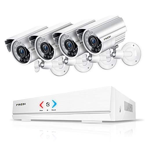 festplatte ohne strom FREDI Überwachungskamera Set System Videoüberwachung CCTV 4-Kanal 720P 1MP AHD DVR Rekorder Überwachungskamera Outdoor Bulletkameras mit 4 720P innen/Außen IR Nachtsicht Bewegungsmelder