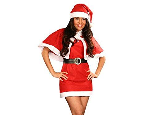 Alsino  Costume Travestimento | Babba Mamma Natale | (wk-75) | 4 Pezzi | Cappello, Mantellina, Cintura, Vestito | Taglia Unica | Piccola Media (34-38) | Donne