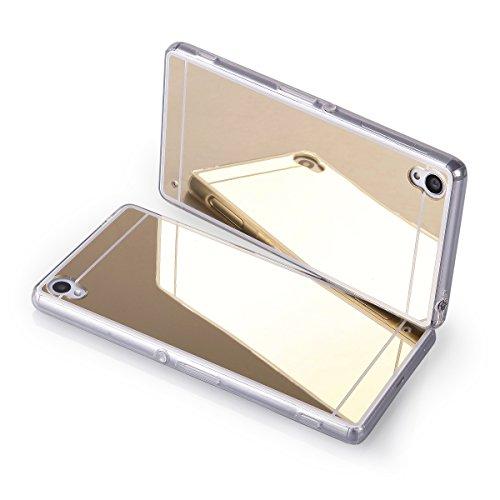 EGO® Coque de protection de luxe pour Sony, en TPU, avec aspect miroir brillant or