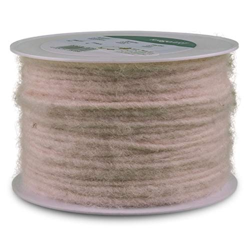 KragoART: Wolldocht, Wollschnur 4 mm Breit - 80 Meter auf Plastikrolle, Bastelwolle Zum Dekorieren von Gefäßen und Gestecken, Beliebt in der Floristik (weiß)
