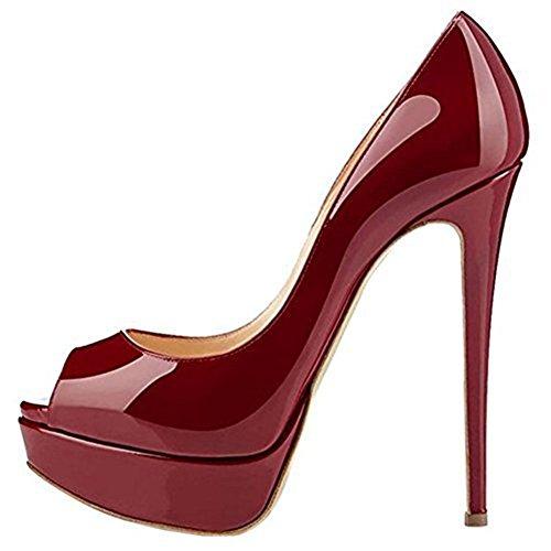 ACEDICHY Zapatos para Mujer - Tacón de Aguja -Peep Toe - Plataforma Tacones  Mujer Fiestas 1fb57ab471ca