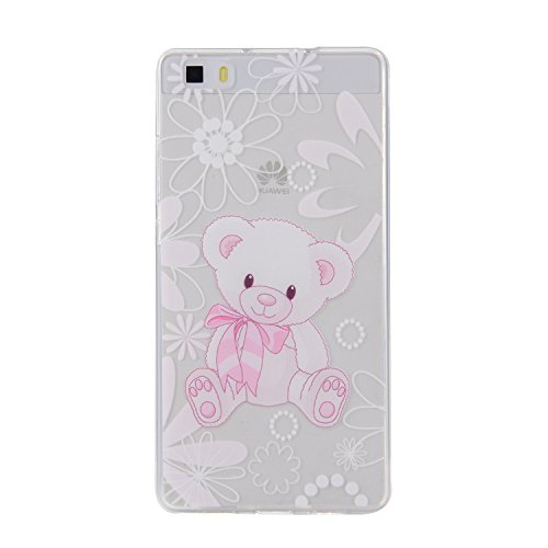 Huawei P8 Lite Cover, CaseLover Custodia per Huawei P8 Lite Bella Stampa Modello Bumper Morbida TPU Silicone Flessibile Sottile Ultra Thin Slim Anti-Scratch Antigraffio Back Cover per Carina Ragazza - I am a cute bear doll / Io sono una bambola simpatico orso / Gift