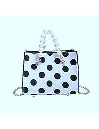 f09e52524ae7a GLOGLOW Mini runde Punkt Leinwand quadratische Form Tasche Faux Perle Griff  Handtasche Kettenriemen Cross Body Bag