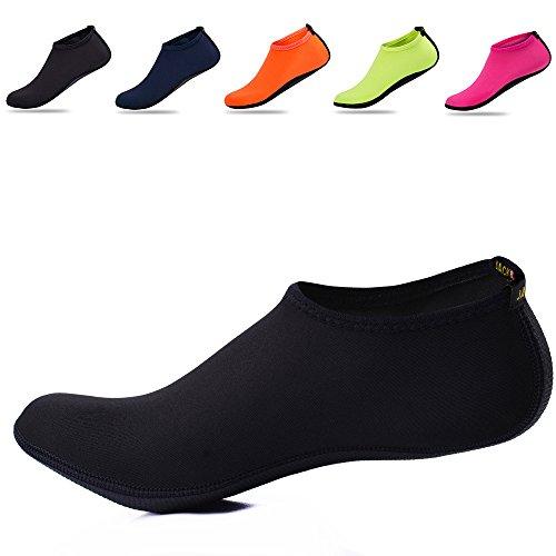 JACKSHIBO Erwachsene Barfuß Schuhe Weich Wassersport Schuhe Damen Schwimmschuhe Surfschuhe Badeschuhe Schwarz