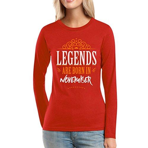 Legends are born in November - Geschenke Frauen Langarm-T-Shirt Rot