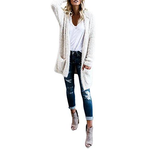 Kostüm Trenchcoat Braun (Damen Streetwear Mantel ,TUDUZ Frauen Hoodie Langarm Cardigan Pullover Oberbekleidung Mit Tasche Jacke (Weiß, M))
