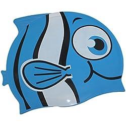 Dianoo para niños impermeable orejeras gorra de baño con alta calidad silicona dibujos animados patrón gorra de natación gorra de natación para niños(Azul + pescado pequeño ojo)