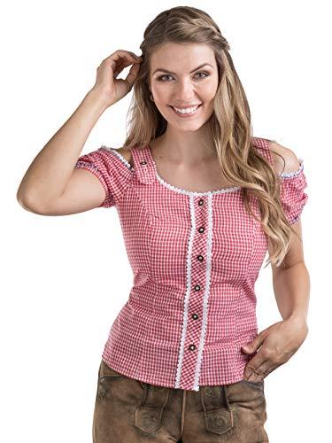 Schöneberger Trachten Couture Trachtenbluse Alpenklee - Elegante, Karierte Bluse im Carmenstil mit Stickereien - tailliert & verstellbar (40, Rot/Weiss)