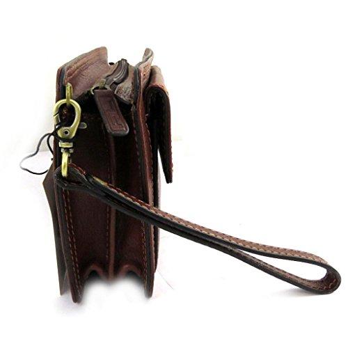 Cartera de cuero hombre 'Lafayette'marrón (2 pliegues).