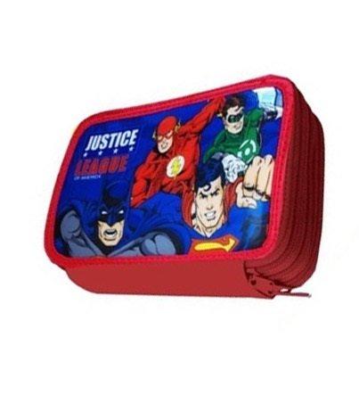 Justice league batman superman flash astuccio triplo 3 cerniere 3 zip pieno con giotto turbocolor