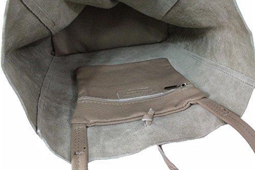 LEATHERWORLD Shopper / Schultertasche / Beutel aus hochwertigem Leder LT037 hellgrau Hellgrau