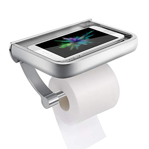 Homemaxs Toilettenpapierhalter, Premium Aluminium Papierrollenhalter Klopapierhalter mit Ablage für Mobiltelefon Matte Finish, Wandmontage Papierhalter für Badzimmer-Schraubenmontage