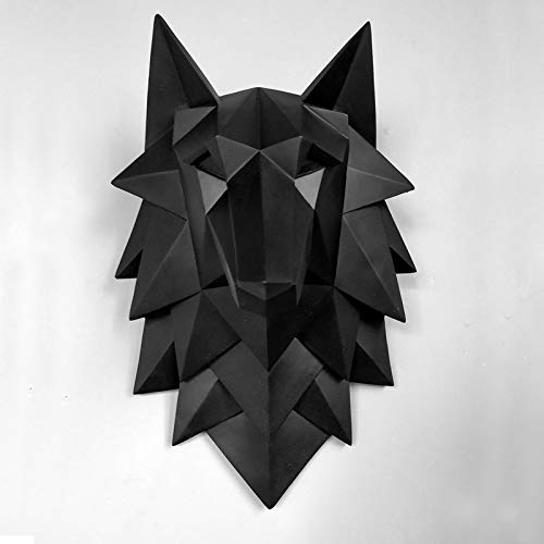 MrNcw Dekoration Zubehör Wolf Kopf Skulptur Wand Hängen Dekor Nordic 3D Statue Wohnzimmer Wandbild Kreative Bar Cafe Kunst Handwerksmaterial: Harz