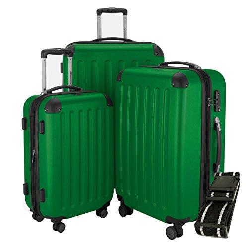 HAUPTSTADTKOFFER Hartschalen Koffer Spree 1203 · Set · Matt · TSA Zahlenschloss · + GEPÄCKGURT (Grün)