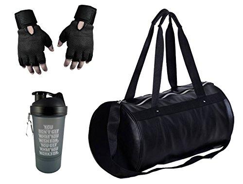 1d6a1a92d6b6 Hyper Adam Polyester Black Sports Duffel With Gloves   Protein Shaker ...